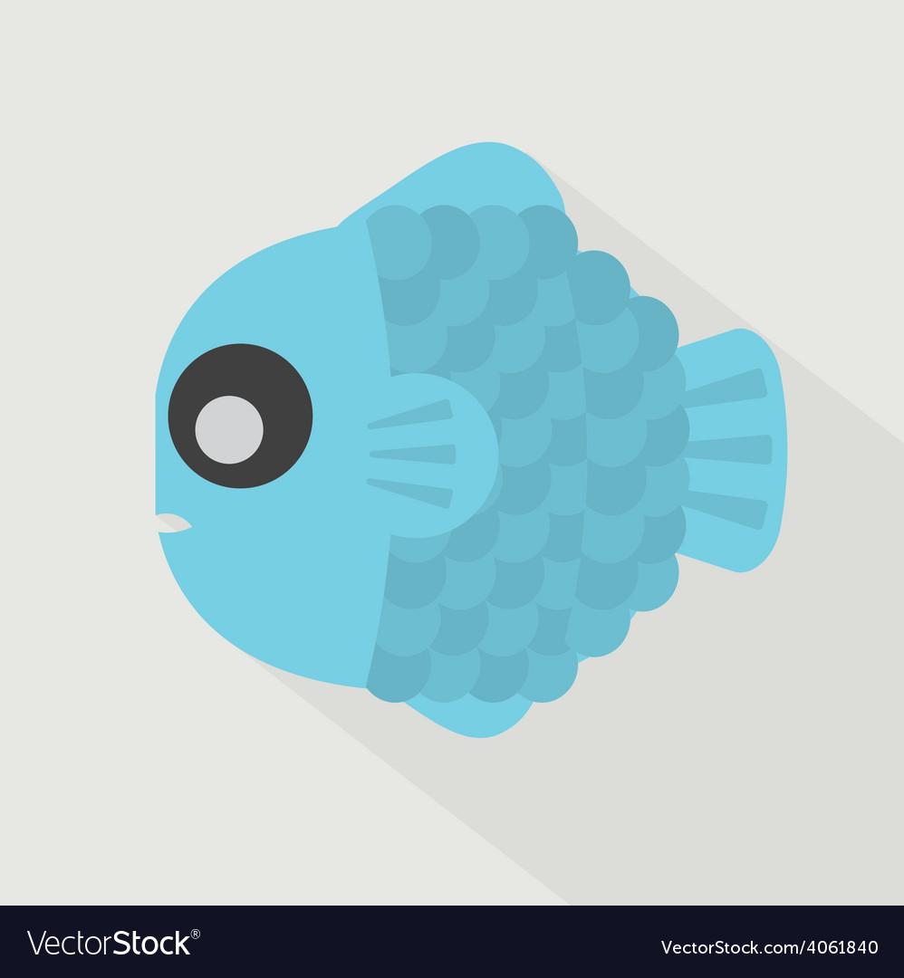 Flat design blue fish icon vector | Price: 1 Credit (USD $1)