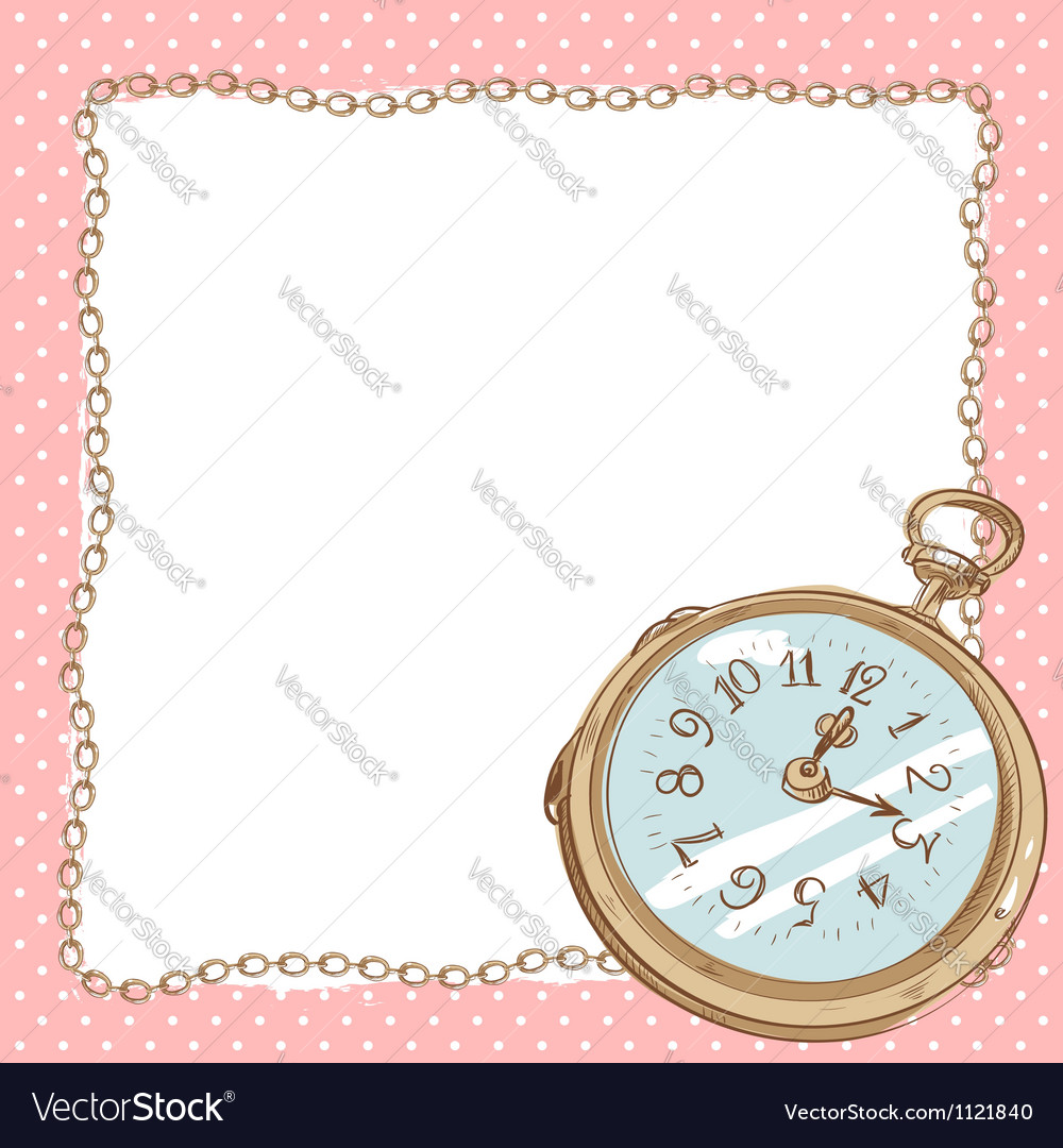 Lovely romantic postcard with ancient pocket watch vector | Price: 1 Credit (USD $1)