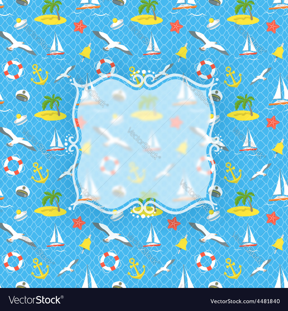 Nautical icons background with blurred label vector   Price: 1 Credit (USD $1)