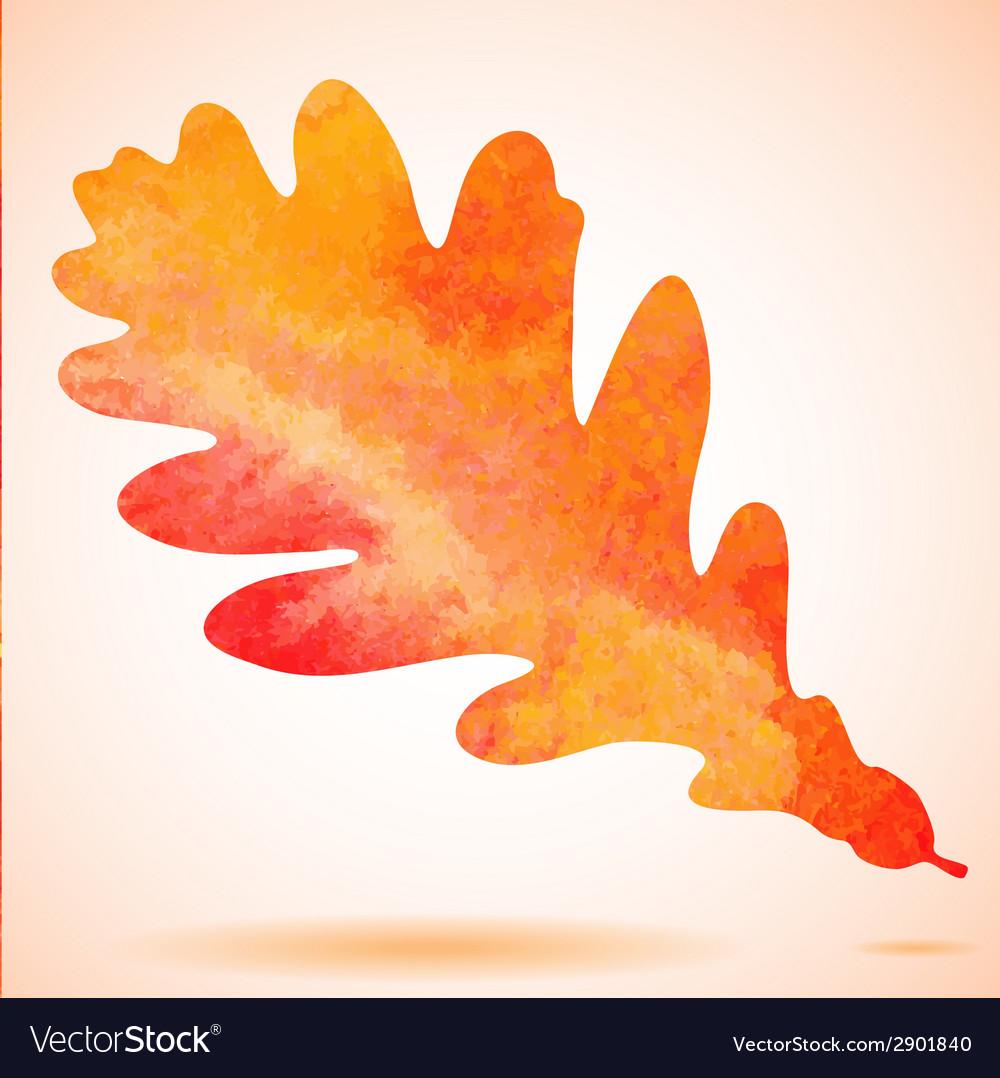 Orange watercolor painted autumn oak leaf vector   Price: 1 Credit (USD $1)