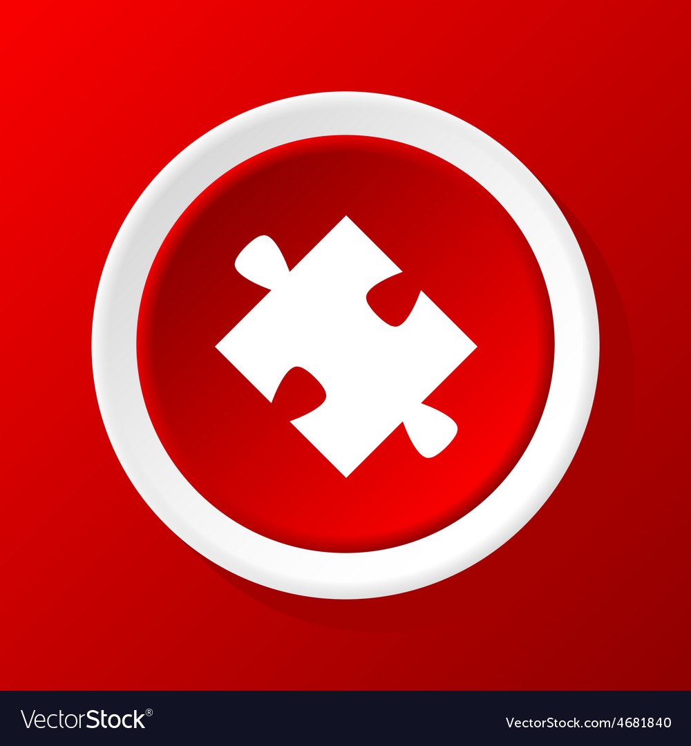 Puzzle piece icon on red vector | Price: 1 Credit (USD $1)