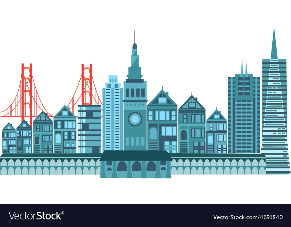 San francisco travel icons colorful retro vector | Price: 1 Credit (USD $1)