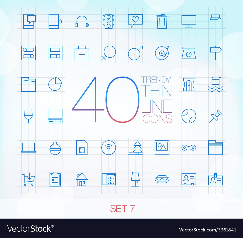 40 trendy thin icons for web and mobile set 8 vector | Price: 1 Credit (USD $1)