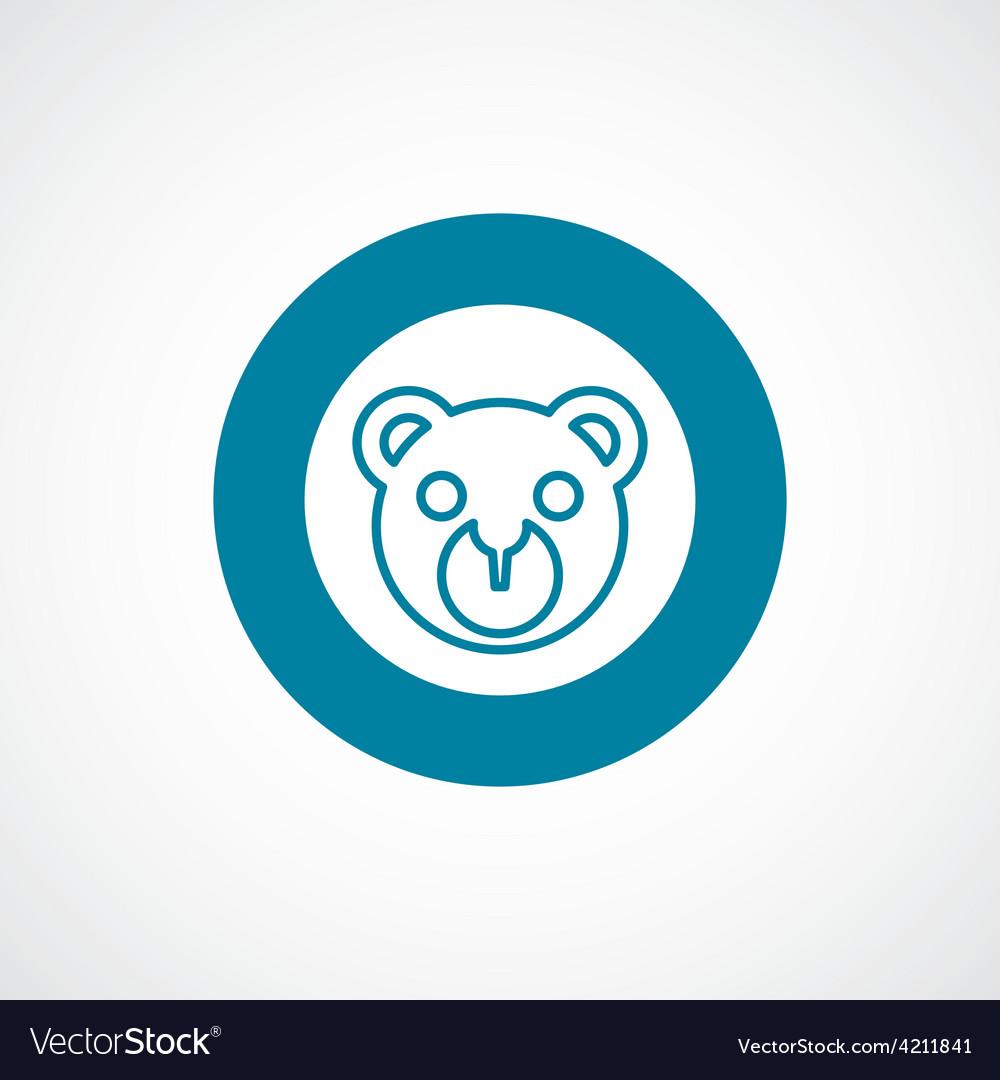 Bear toy icon bold blue circle border vector | Price: 1 Credit (USD $1)