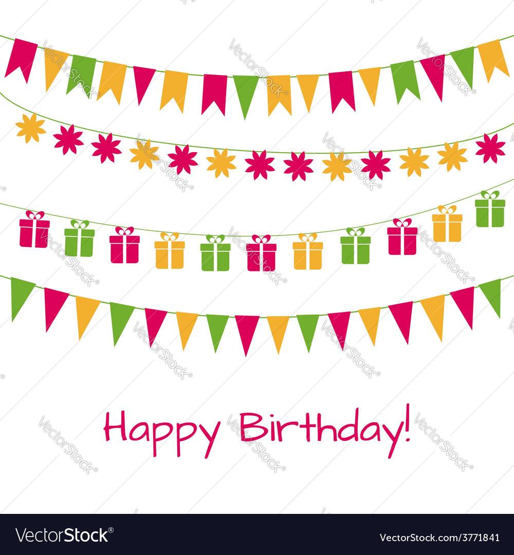 Birthday greeting card with garlands vector | Price: 1 Credit (USD $1)