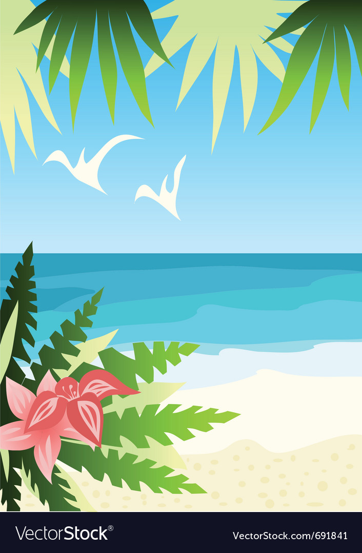 Bright sunny beach vector | Price: 1 Credit (USD $1)