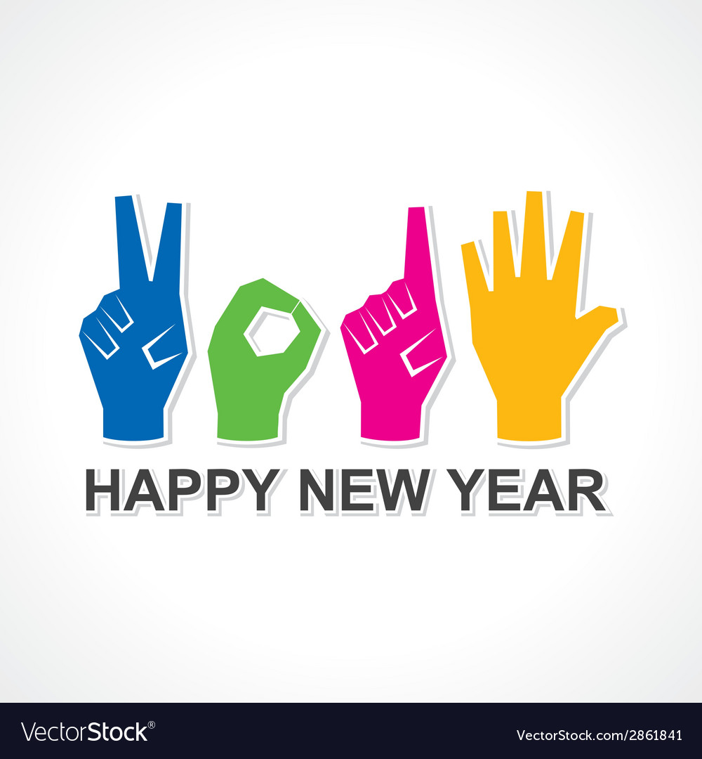 Creative happy new year 2015 design with finger vector | Price: 1 Credit (USD $1)