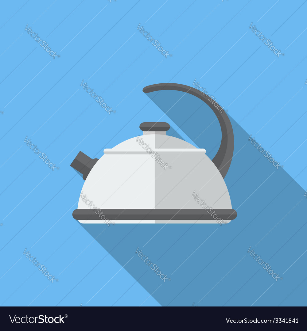 Flat kettle with long shadow icon vector | Price: 1 Credit (USD $1)