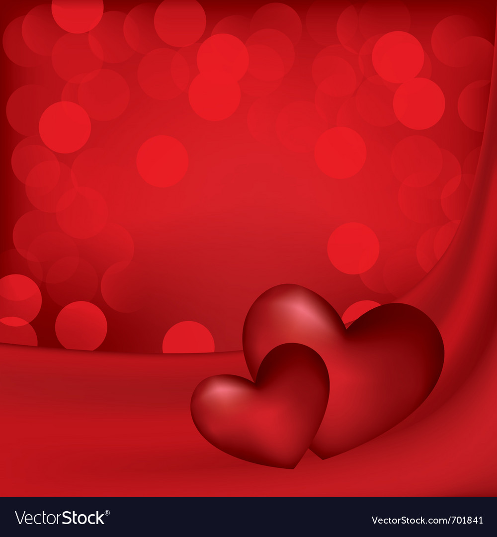 Hearts on the red silk background vector | Price: 1 Credit (USD $1)