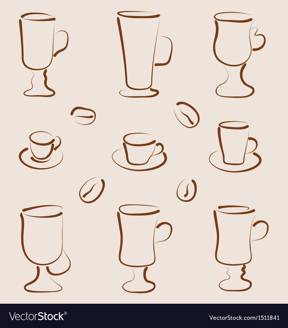 Outline set coffee and tea design elements vector | Price: 1 Credit (USD $1)