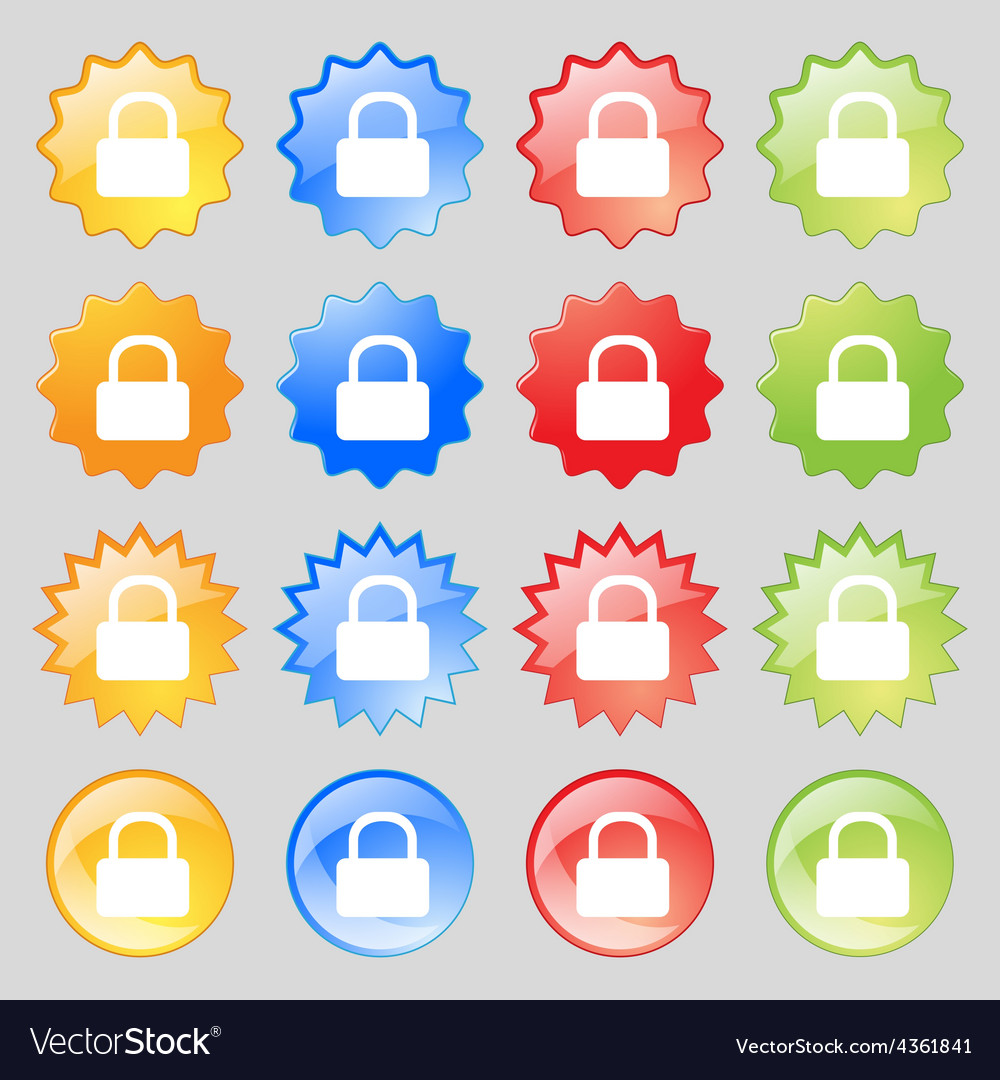 Pad lock icon sign big set of 16 colorful modern vector | Price: 1 Credit (USD $1)