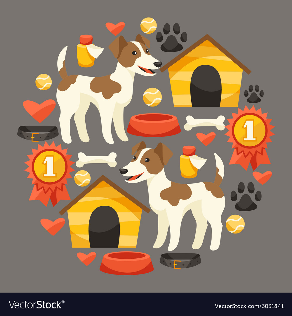 Set of icons and objects with cute dogs vector | Price: 1 Credit (USD $1)