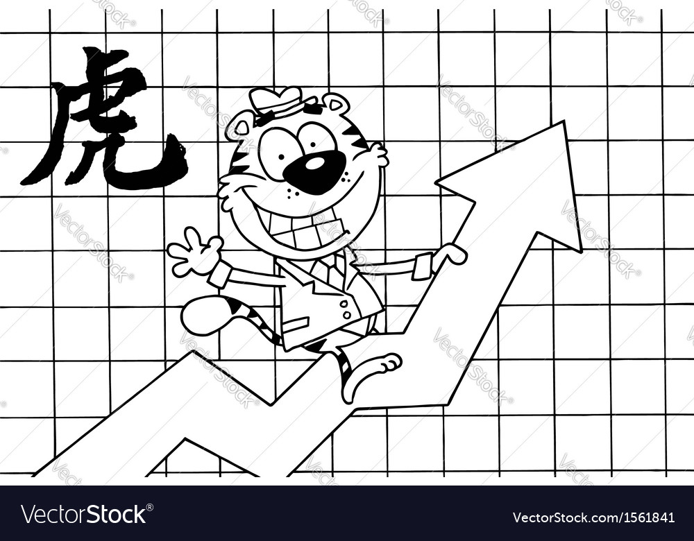 Tiger stock market cartoon vector | Price: 1 Credit (USD $1)