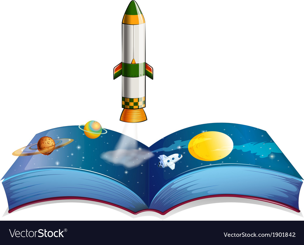 A book with planets and a rocket vector | Price: 3 Credit (USD $3)