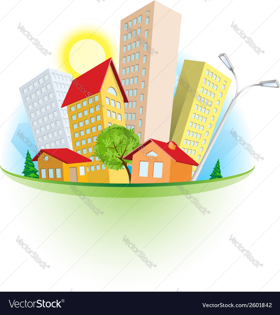 Abstract cartoon city vector | Price: 1 Credit (USD $1)