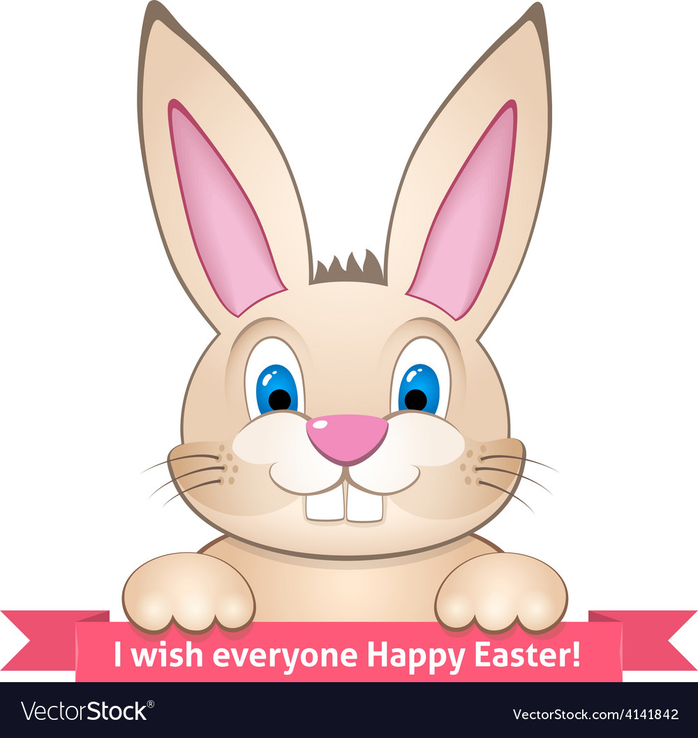 Bunny wishes happy easter vector   Price: 1 Credit (USD $1)