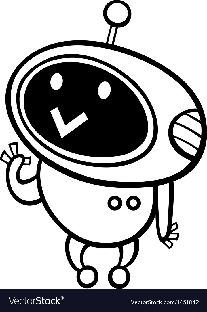 Cartoon kawaii robot coloring page vector | Price: 1 Credit (USD $1)