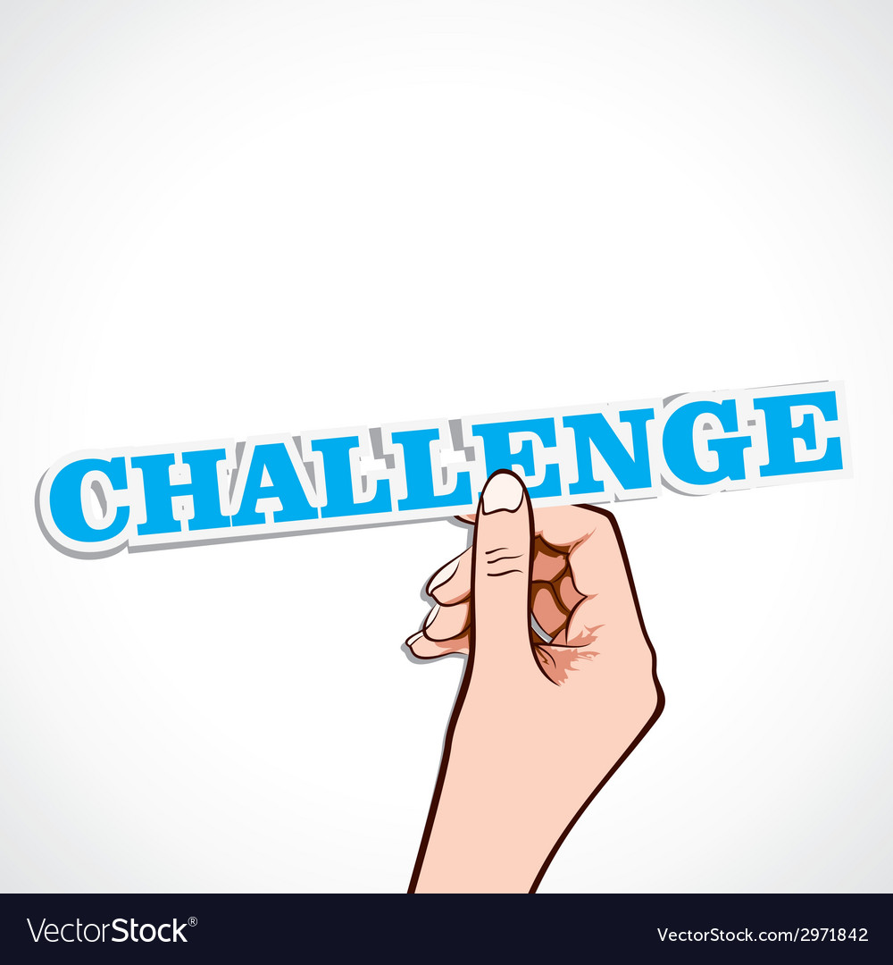 Challenge word in hand vector | Price: 1 Credit (USD $1)