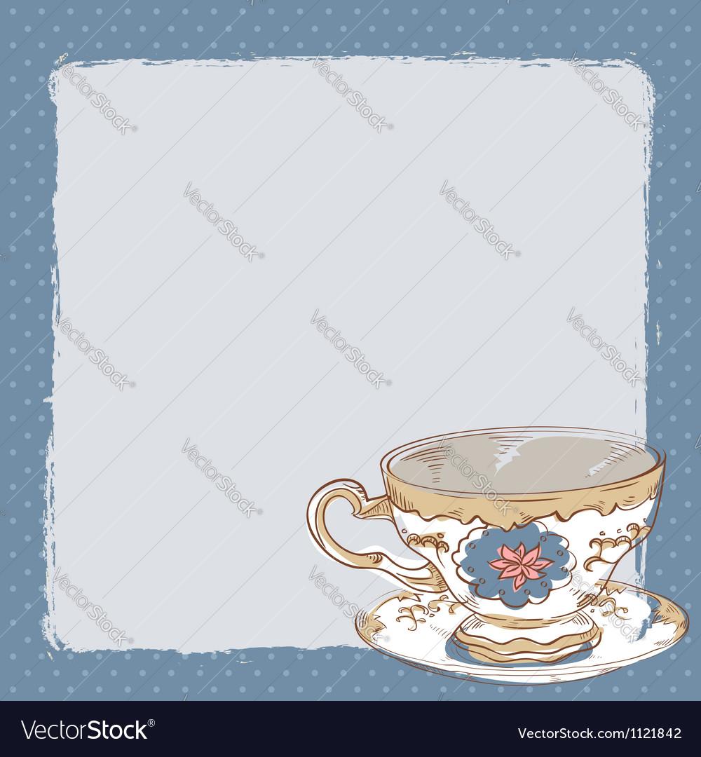 Elegant romantic card with porcelain tea cup vector | Price: 1 Credit (USD $1)