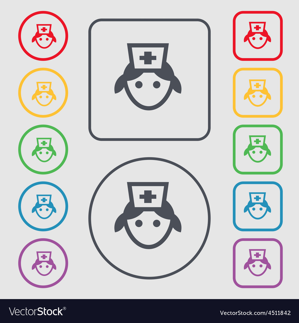 Nurse icon sign symbol on the round and square vector | Price: 1 Credit (USD $1)