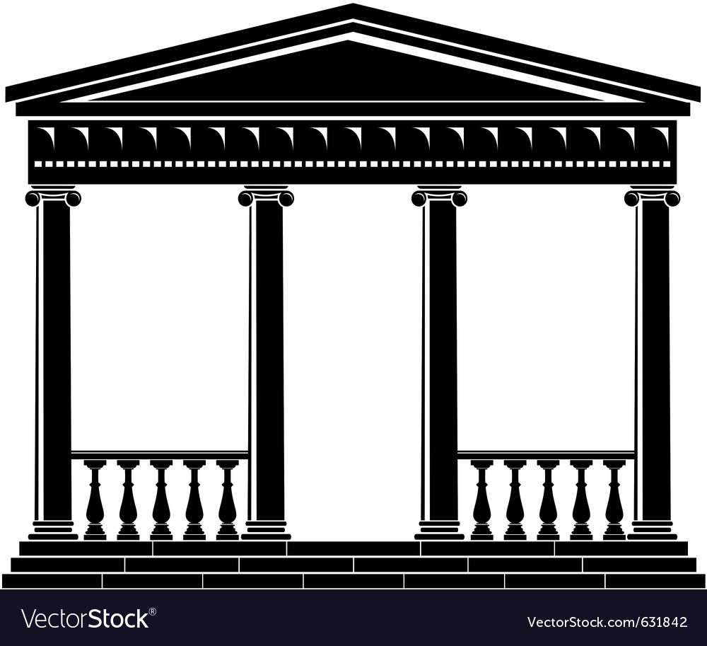 Portico of ancient temple with balustrade vector | Price: 1 Credit (USD $1)