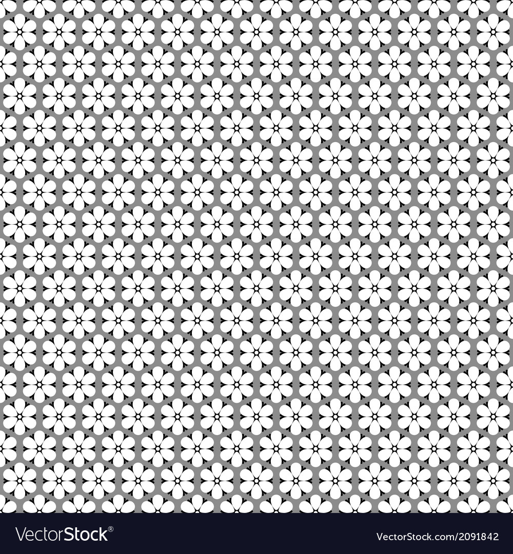 Seamless monochrome floral pattern vector | Price: 1 Credit (USD $1)