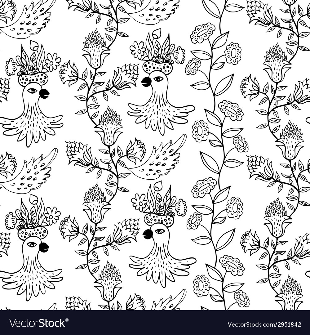 Seamless pattern with flowers and birds vector | Price: 1 Credit (USD $1)