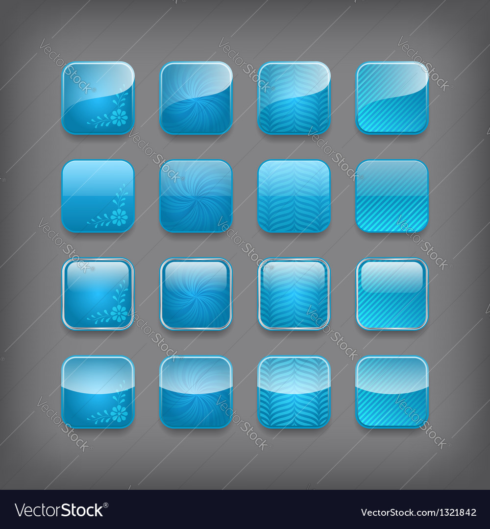 Set of blank blue buttons vector | Price: 1 Credit (USD $1)