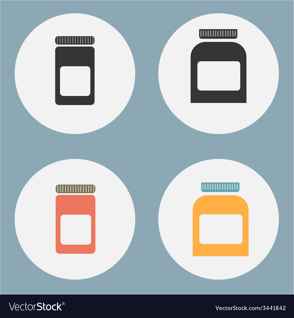 Set of flat medicine bottles vintage colors vector | Price: 1 Credit (USD $1)