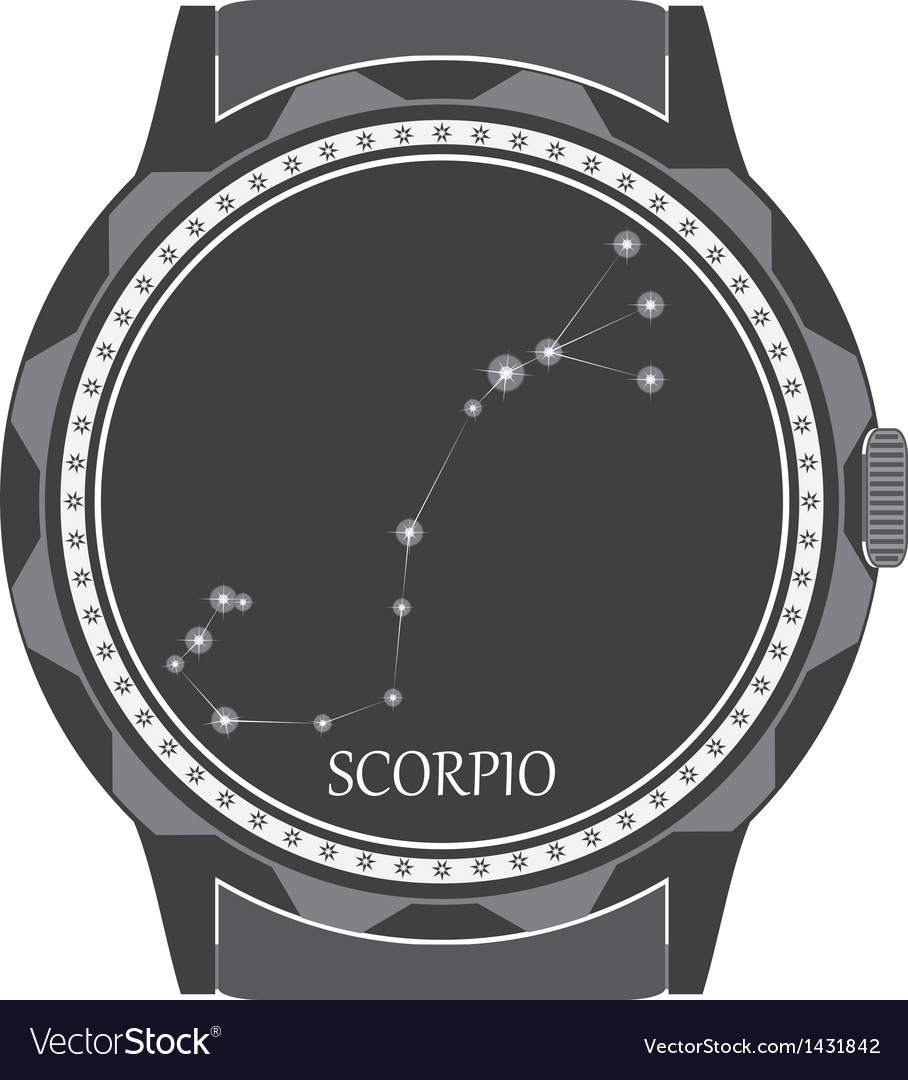 The watch dial with the zodiac sign scorpio vector | Price: 1 Credit (USD $1)
