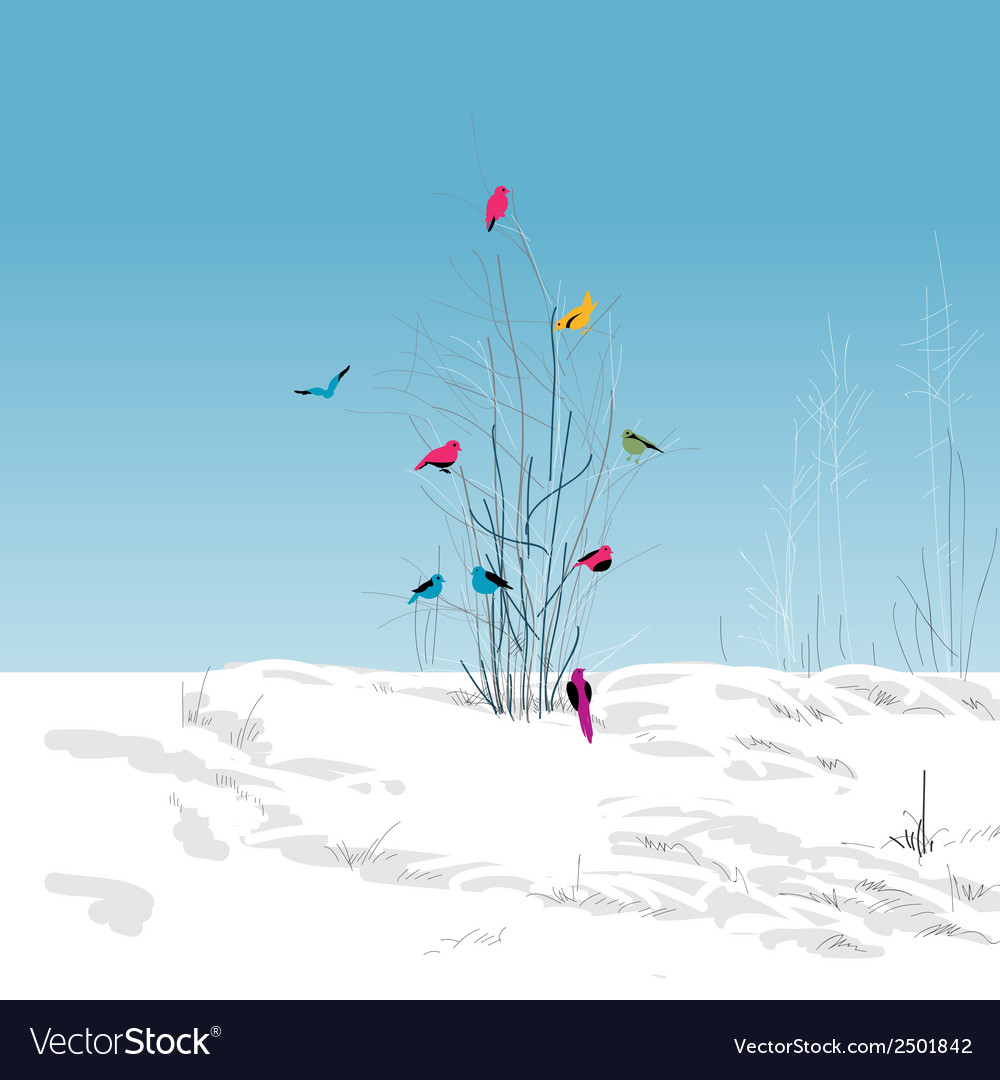 Winter landscape colorful birds in the tree vector | Price: 1 Credit (USD $1)