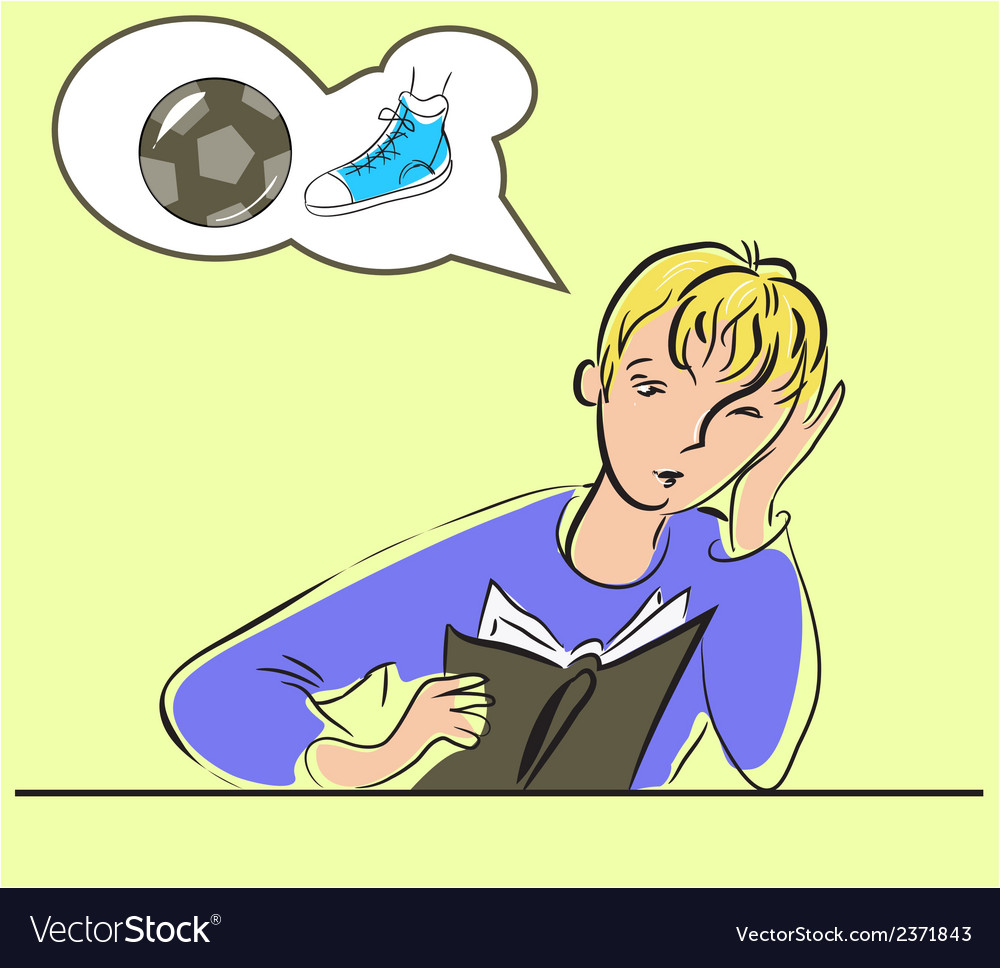 Boy reading a book and dreaming about football vector | Price: 1 Credit (USD $1)