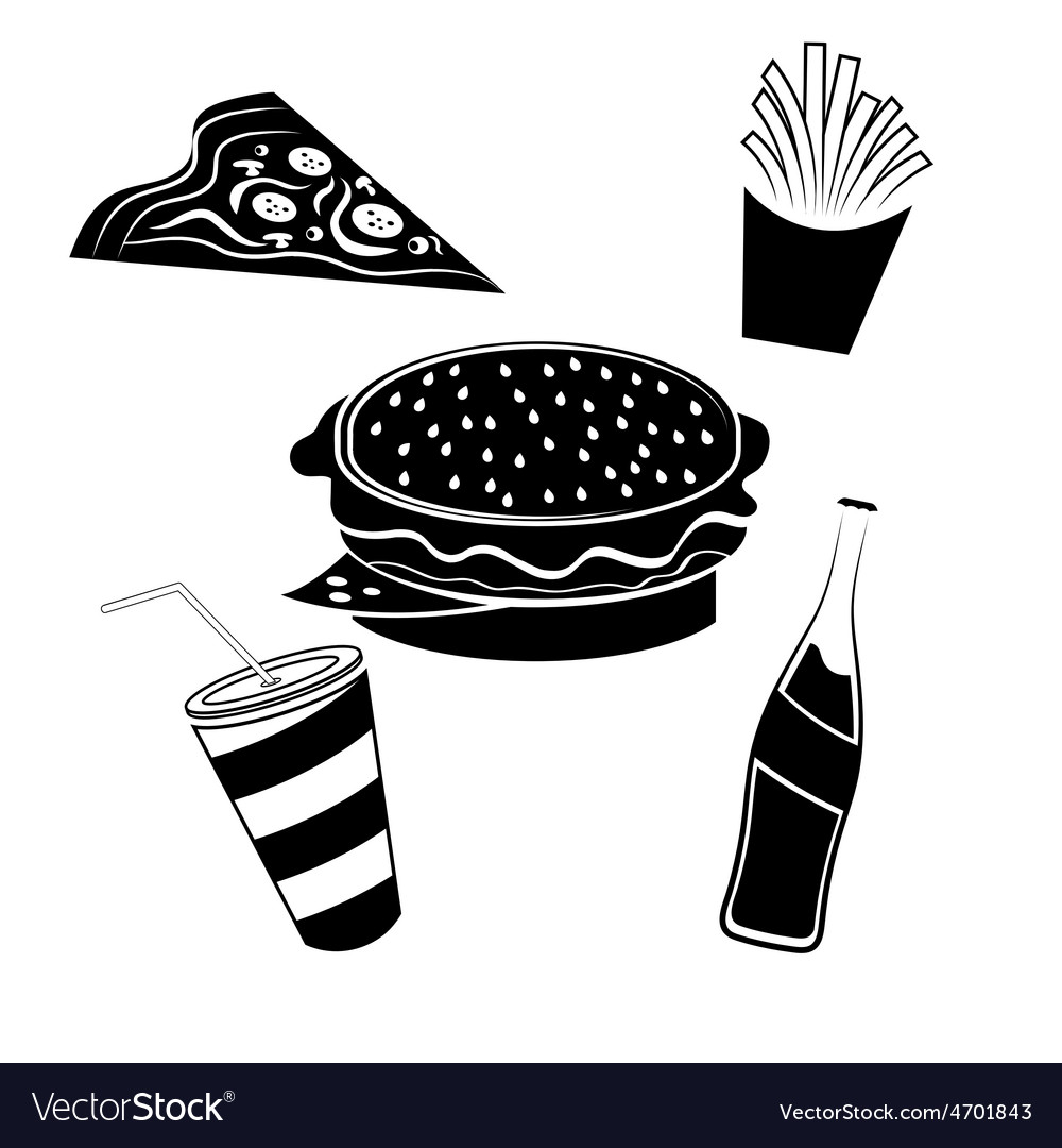 Fast food elements set vector   Price: 1 Credit (USD $1)