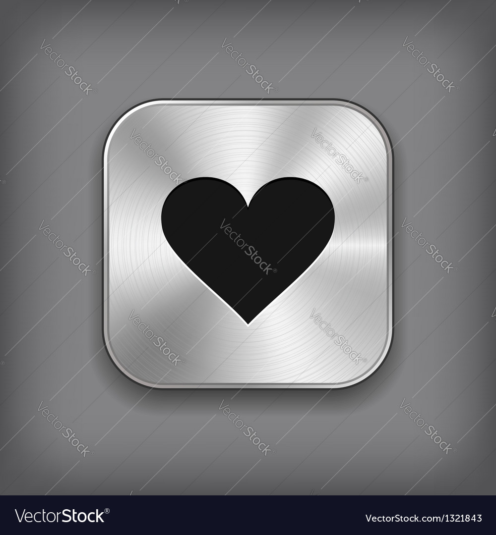 Heart icon - metal app button vector | Price: 1 Credit (USD $1)
