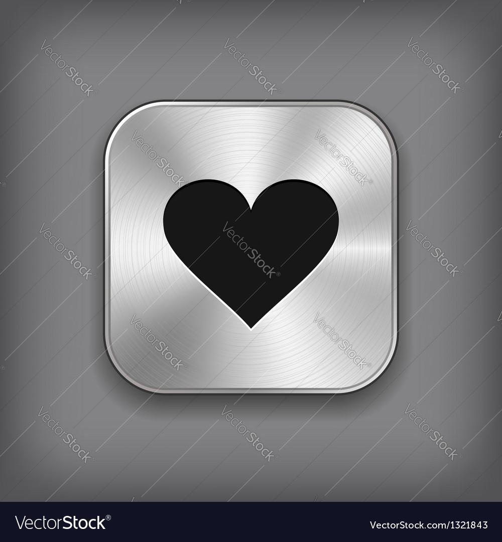 Heart icon  metal app button vector