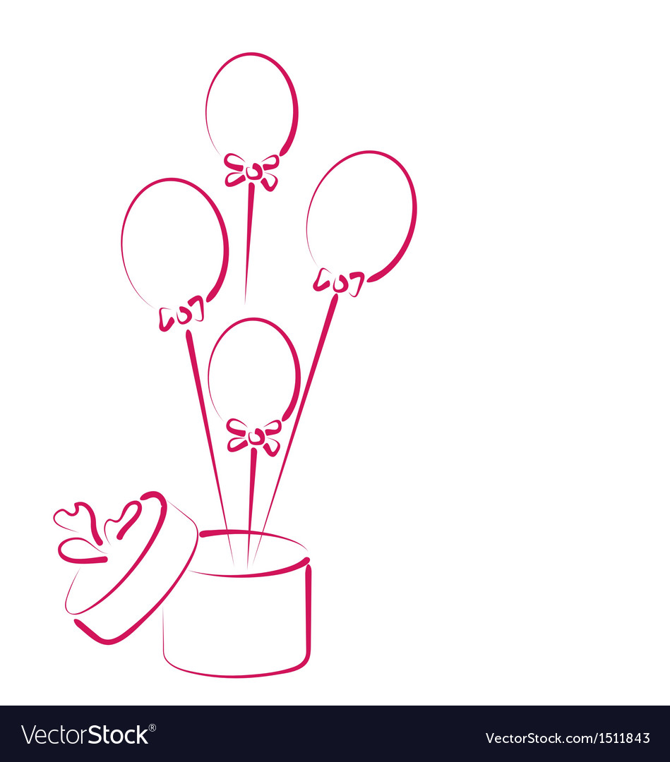 Open gift box with balloons for your holiday vector | Price: 1 Credit (USD $1)
