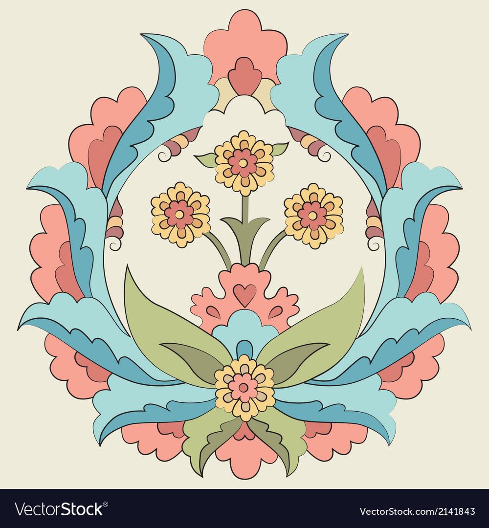 Ottoman art flowers fourteen version vector | Price: 1 Credit (USD $1)