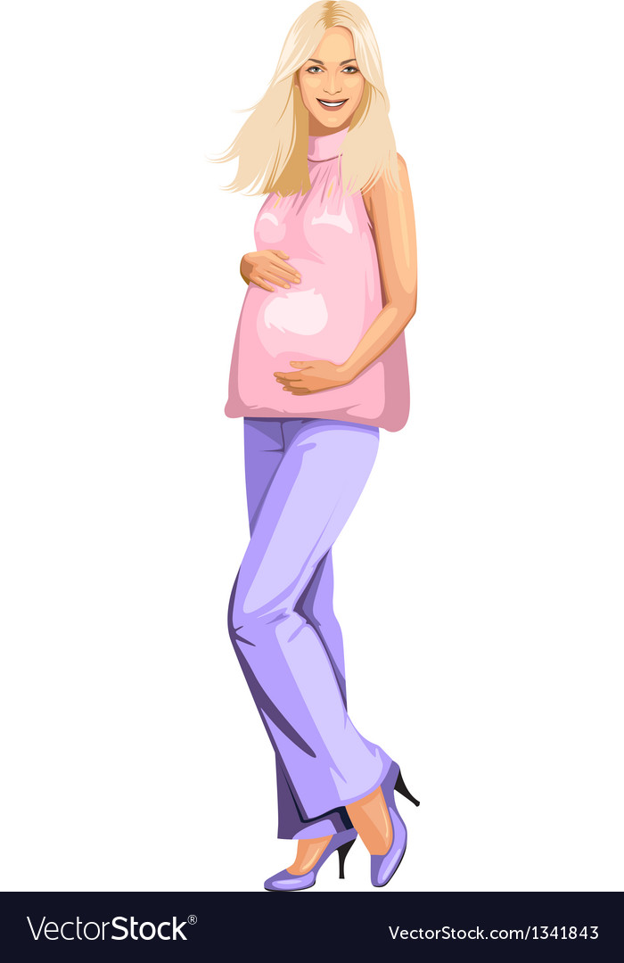 Pregnant blonde girl in pink vector | Price: 3 Credit (USD $3)