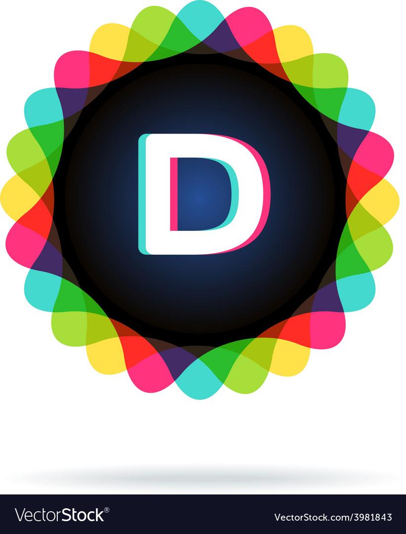 Retro bright colors logotype letter d vector | Price: 1 Credit (USD $1)