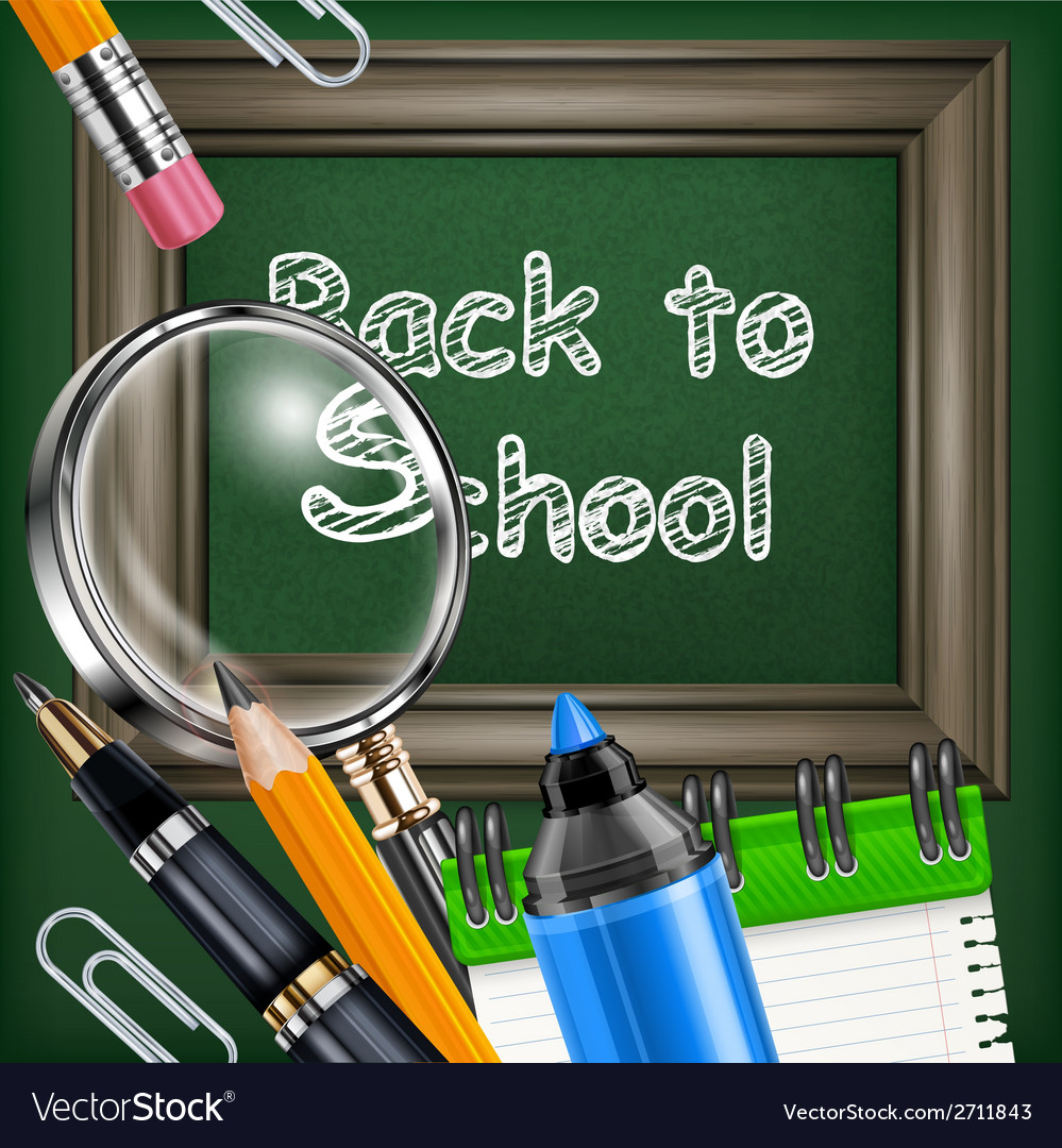 School blackboard and stationery vector | Price: 1 Credit (USD $1)