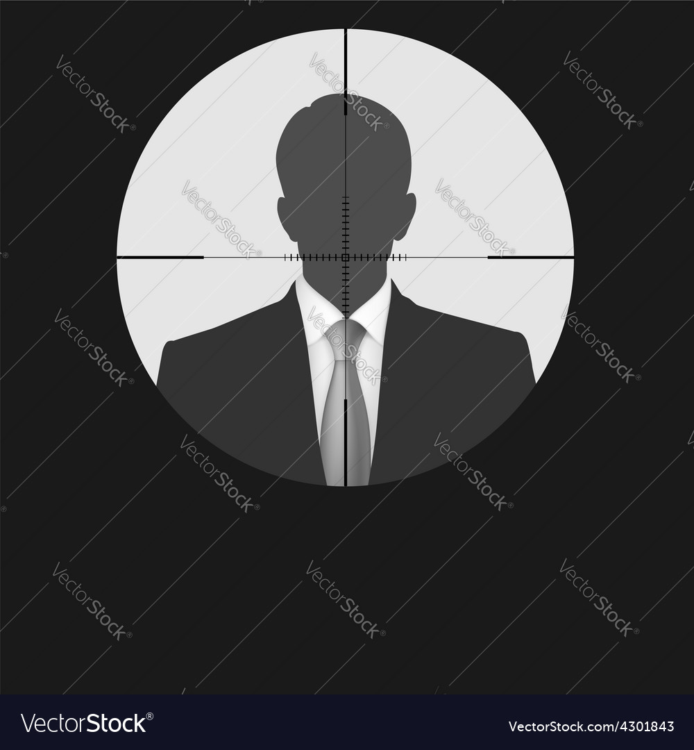 Sniper scope crosshair man silhouette vector | Price: 1 Credit (USD $1)