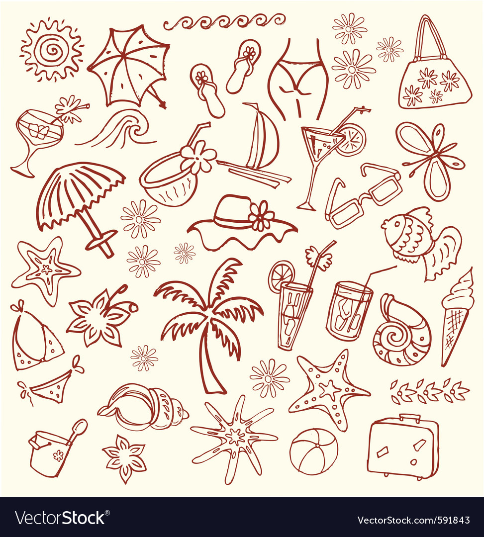Summer sketches vector | Price: 1 Credit (USD $1)