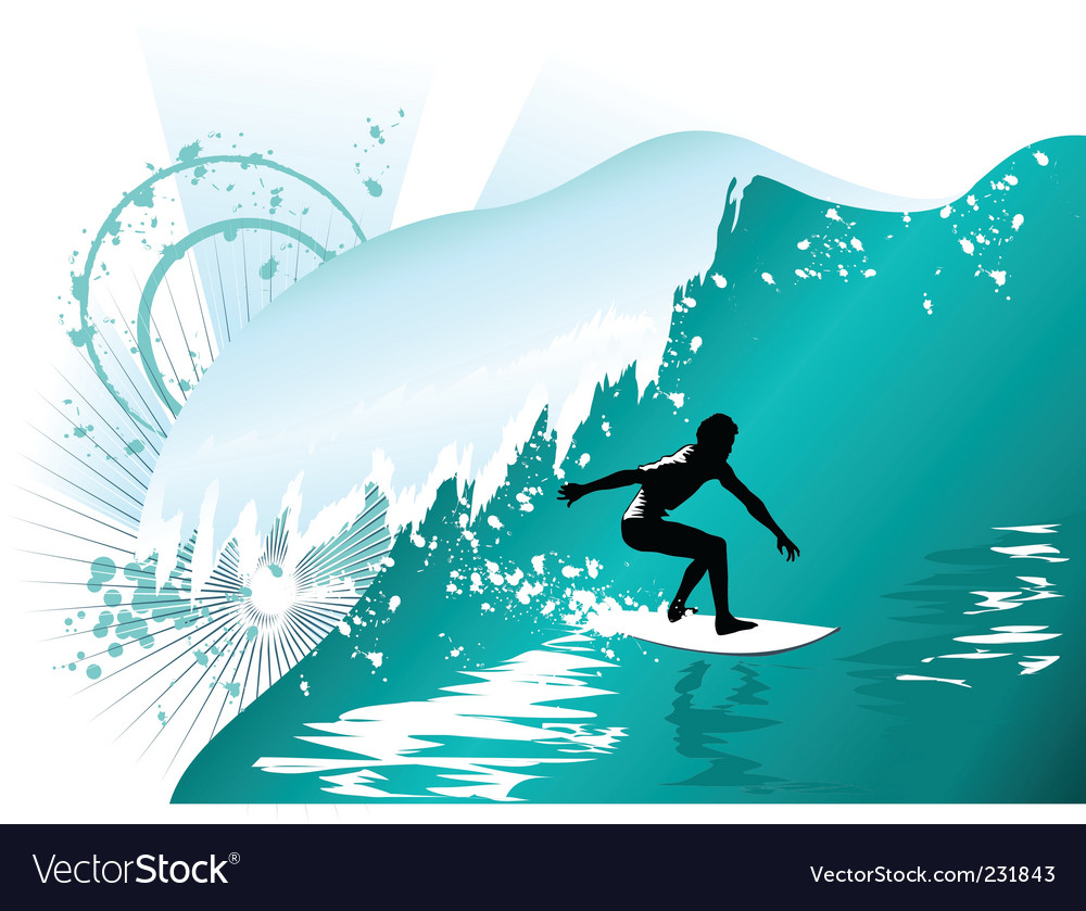 Wave surfing vector | Price: 1 Credit (USD $1)