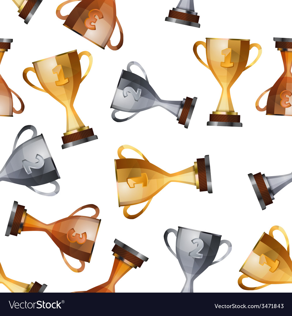 Winners cups on white background seamless pattern vector   Price: 1 Credit (USD $1)