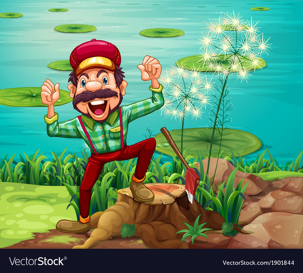 A happy lumberjack stepping on a stump at the vector | Price: 5 Credit (USD $5)