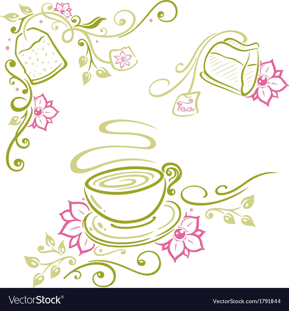 Asian tea cherry blossoms vector | Price: 1 Credit (USD $1)