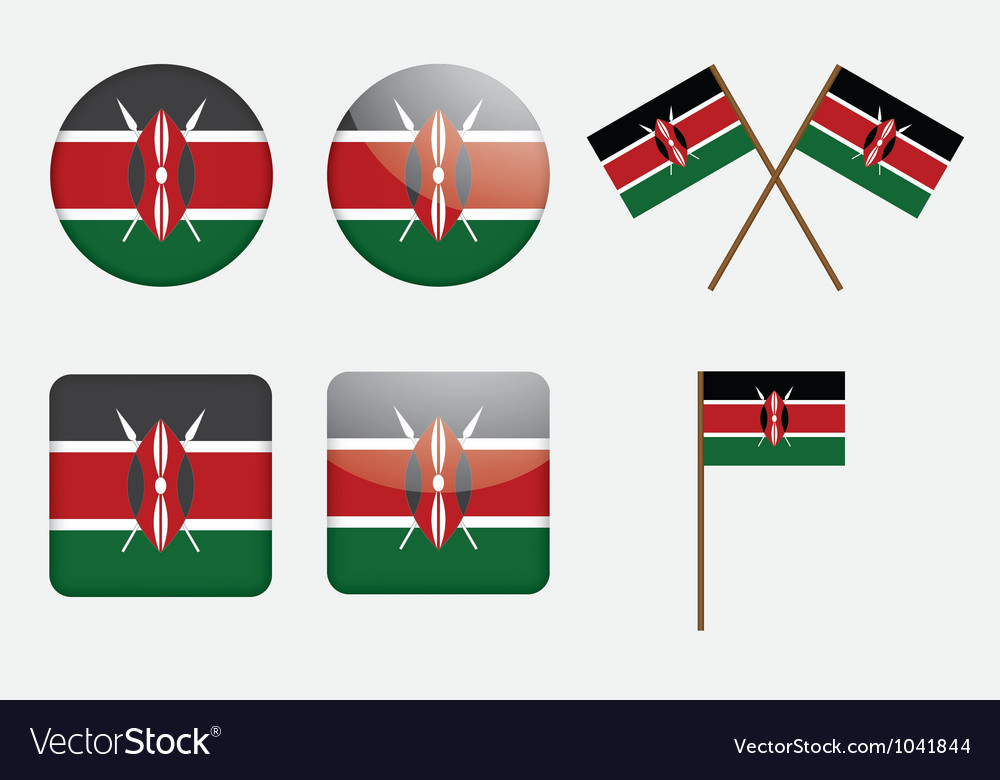 Badges with flag of kenya vector | Price: 1 Credit (USD $1)