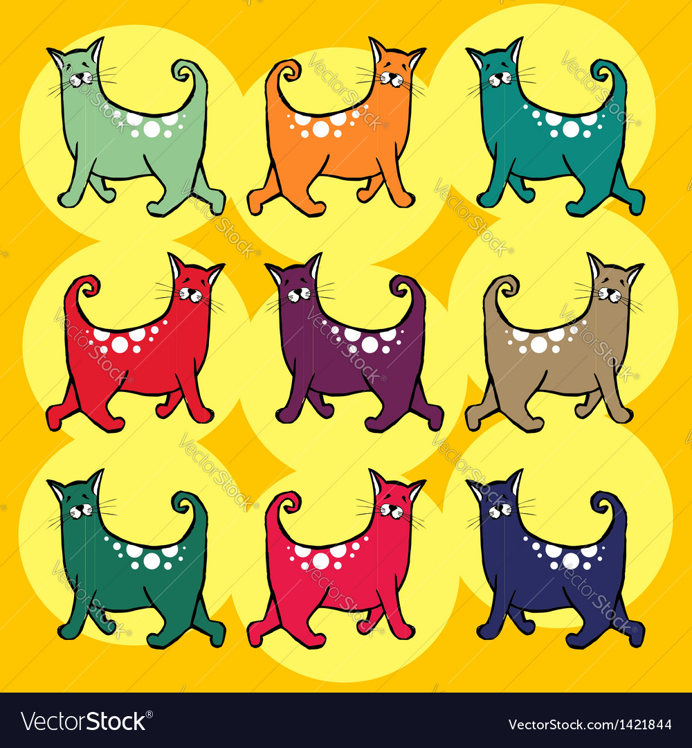 Cats with curly tail pattern vector | Price: 1 Credit (USD $1)