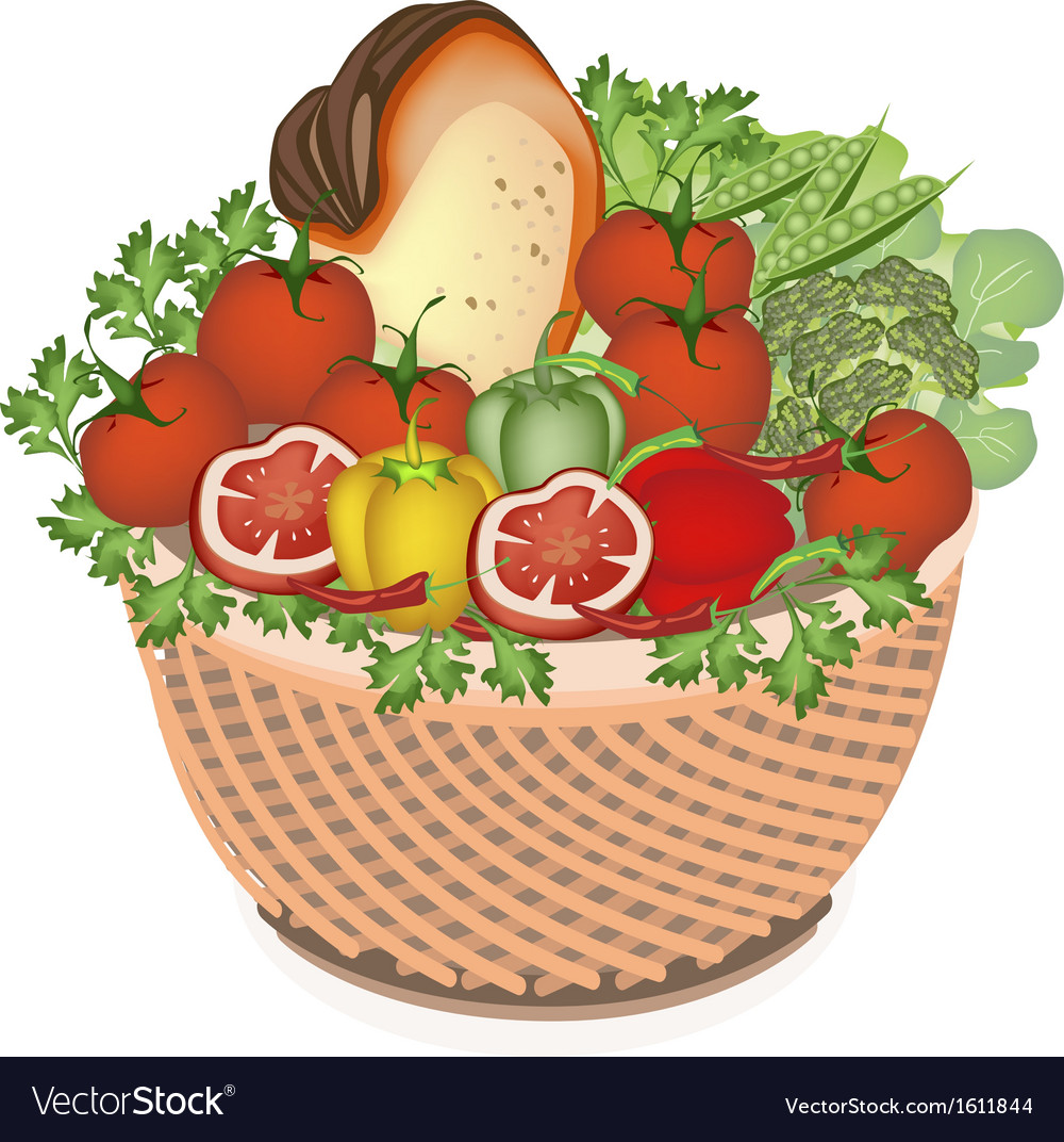 Health and nutrition vegetable and food in basket vector | Price: 1 Credit (USD $1)