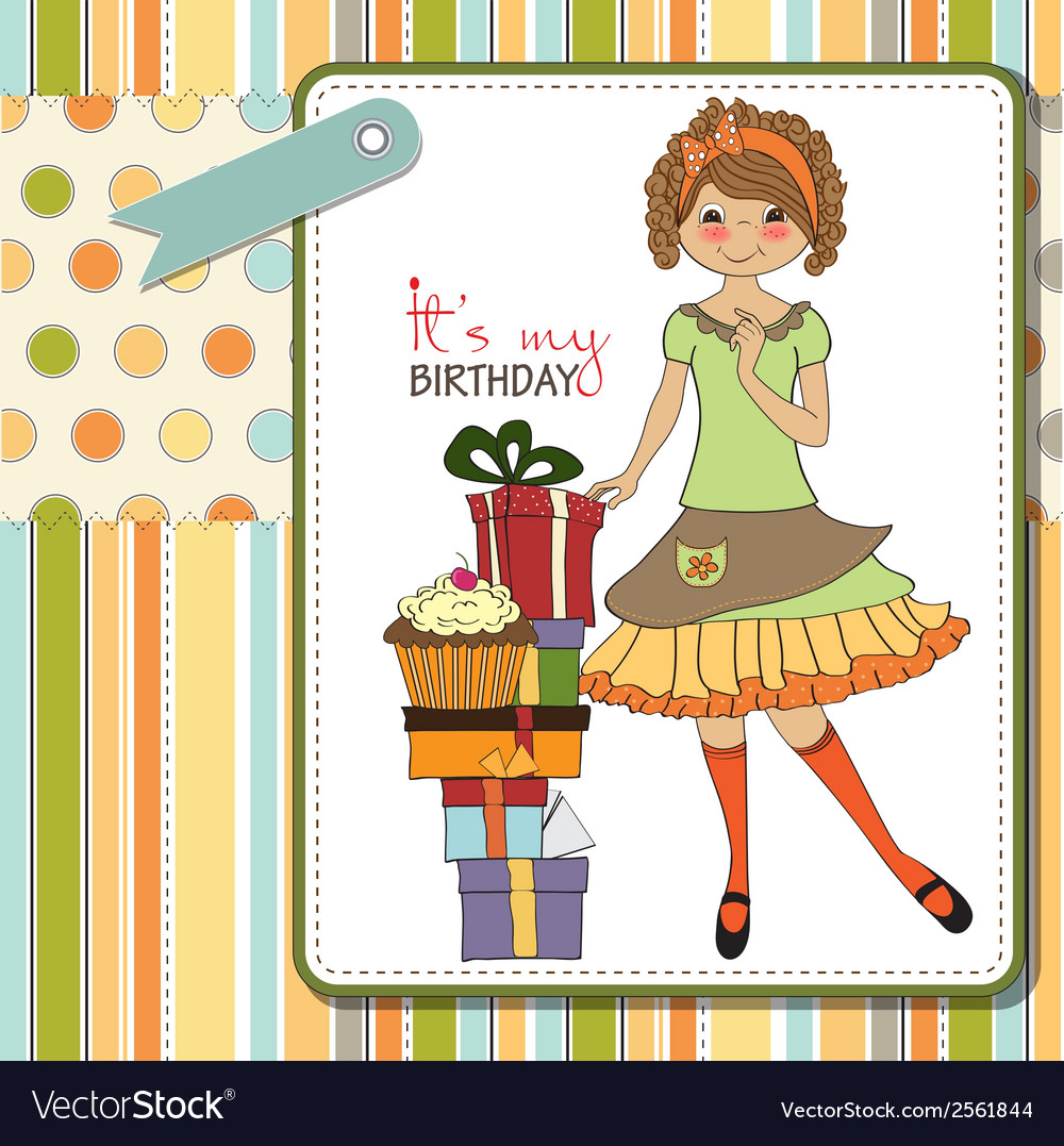 Pretty young girl with gift vector   Price: 1 Credit (USD $1)